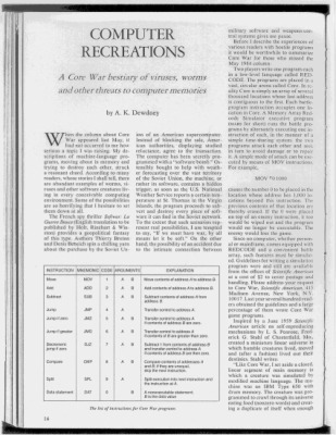 L'article publié par American Scientific, de A.K. Dewdney