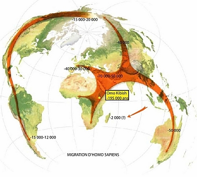 Migration de l'Homo sapiens depuis l'Afrique